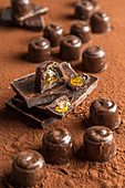 Chocolate candy with orange jelly filling