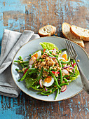 Salad with red lentils, green beans and eggs