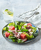 Salad with roastbeef and watermelon