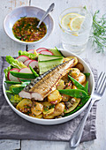 Scandinavian fish salad with mackerel