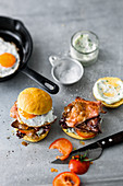 Beef steak burger with chimichurri mayonnaise, ham and fried egg