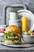 Shrimp burger with marinated vegetables and sriracha mayonnaise