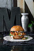 Pulled mushroom burger with truffle mayonnaise and whiskey BBQ sauce