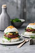 Sushi rice burger with vegan caviar, sriracha mayonnaise and peanut sauce