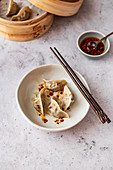 Steamed Gyoza with Homemade Chili Oil
