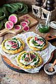 Watermelon radish kale pesto flatbreads