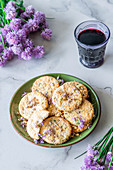 Chives flowers cheese cookies