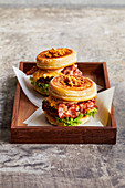 Donut burgers with bacon