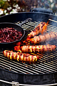 Grilled cheese sausages with red onion jam