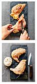 Stuffed chicken breast tied with kitchen twine