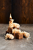 BBQ lighter cubes and wood wool