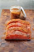 Cajun salmon seasoned with rub