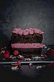 Chocolate cake with blackberry cream cheese buttercream