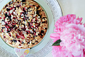 Blackberry and currant cake with flaked almonds