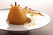 Tonka pear dessert with chocolate and caramel brown sugar and cinnamon