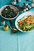 Garlic butter black cabbage, Herb-dressed spring vegetables