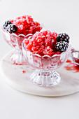 Blackberry strawberry granita