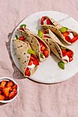 Sweet dessert strawberry tacosCR