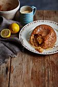 Sussex pond pudding - old-fashioned steamed suet pudding with a lemon puddle syrup