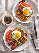 Zucchini waffles with bacon and fried egg