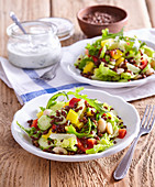 Vegetable salad with red wheat