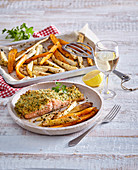 Vegetable fries with salmon