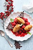 Curd cheese dumplings with raspberries