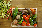 Wood punnet with various vegetables
