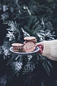 Gingerbread stamped cookies on a plate