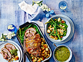 One Pan Roast Lambwith Pistachio Salsa Verde and Vegetable