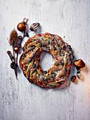Sour Cherry Pistachio Stollen Wreath