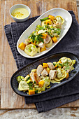 Tortellini salad with chicken, leek, mango and curry dressing