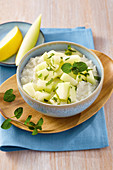 Coconut rice with mint melon