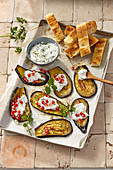 Eggplant with yogurt dip and toasted bread