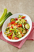 Bell pepper and leek vegetables with zucchini and bean sprouts