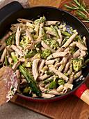 Vegan broccoli pasta with whipped cream
