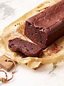 Vegan chocolate cake, cut