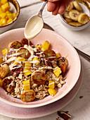 Summer porridge with mango, banana and plant-based drink