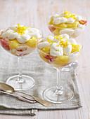 Lemon trifles in dessert glasses