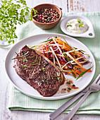Kohlrabi salad with beef