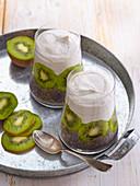 Chia pudding with kiwi and banana smoothie Chia Seed Pudding with Kiwi and Banana Smoothie