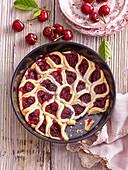 Rose cake with cherries