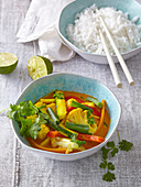 Vegetarian cauliflower curry with rice