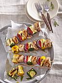 Chicken shashlik with zucchini rolls