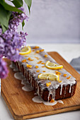Poppy seed and lemon cake topped with sugar icing