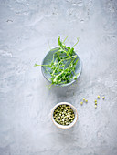 Peas and pea sprouts in bowls