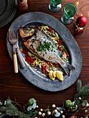 Roasted sea bream on vegetables