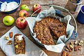 Sweet apple pie bread baked in a Dutch oven