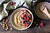 Berry buckwheat porridge with nut butter cooked in a Dutch oven