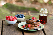 Cinnamon French toast with fresh berries and maple syrup